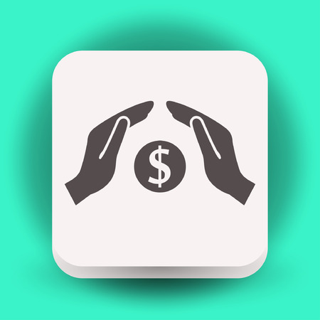 Pictograph of money in hand. Vector concept illustration for design.