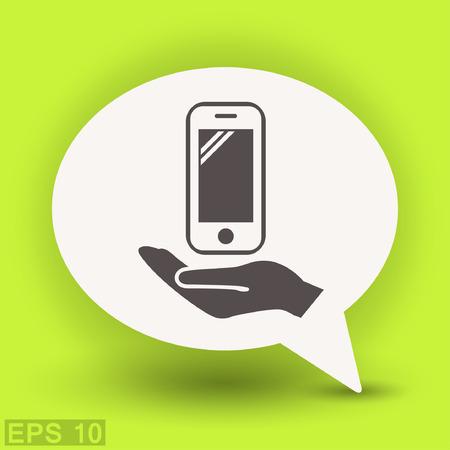handphone: Pictograph of mobile. Vector concept illustration for design.