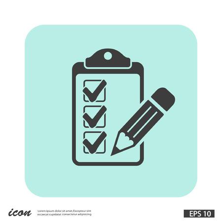 Pictograph of checklist. Vector concept illustration for design. Eps 10