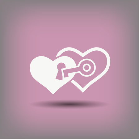 Pictograph of heart with key. Vector concept illustration for design.