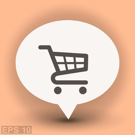Pictograph of shopping cart. Vector concept illustration for design. Eps 10