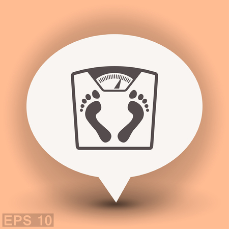 Pictograph of bathroom scale with footprints. Vector concept illustration for design. Eps 10