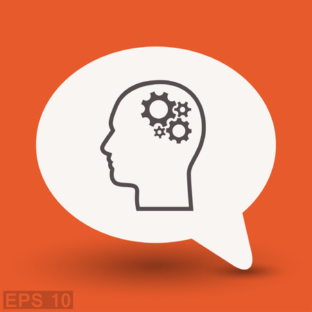 thinking machines: Pictograph of gear in head. Vector concept illustration for design. Illustration
