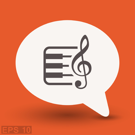 Pictograph of music key and keyboard. Vector concept illustration for design.
