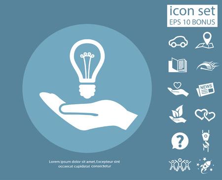 energysaving: Pictograph of light bulb. Vector concept illustration for design. Eps 10