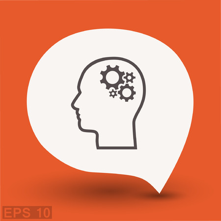 thinking machines: Pictograph of gear in head. Vector concept illustration for design. Eps 10 Illustration