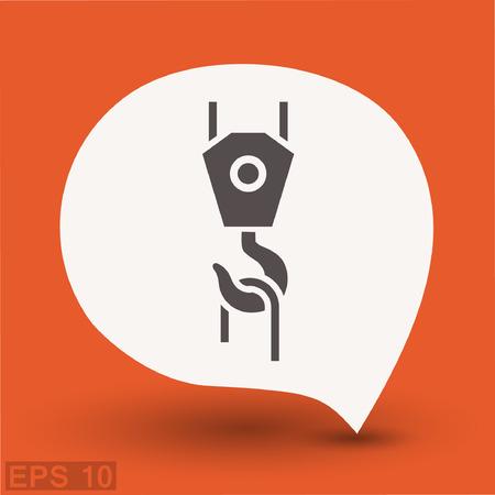 Pictograph of crane hook. Vector concept illustration for design.