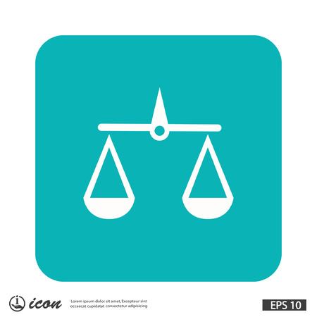 guilt: Pictograph of justice scales. Vector concept illustration for design.