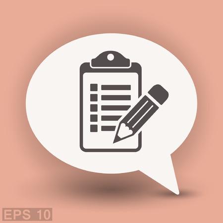 Pictograph of checklist. Vector concept illustration for design.