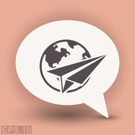 Pictograph of airplane. Vector concept illustration for design. Illustration