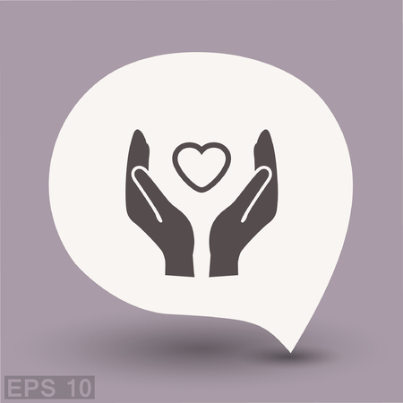 helpful: Pictograph of heart in hand. Vector concept illustration for design. Eps 10 Illustration