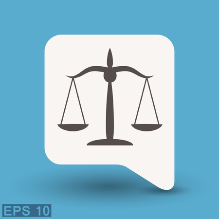 litigation: Pictograph of justice scales. Vector concept illustration for design.