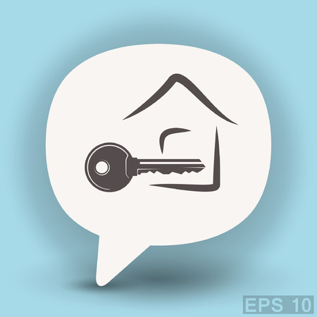 metal doors: Pictograph of key. Vector concept illustration for design. Eps 10