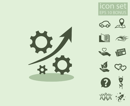 mechanism of progress: Pictograph of gear. Vector concept illustration for design.