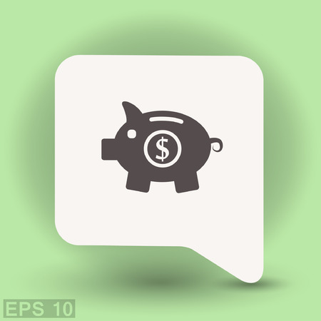 put: Pictograph of moneybox. Vector concept illustration for design. Illustration