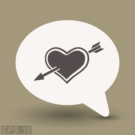 Pictograph of heart with arrow. Vector concept illustration for design. Illustration