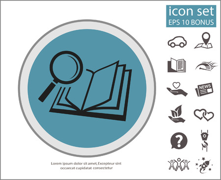 Pictograph of book and magnifier glass. Vector concept illustration for design.