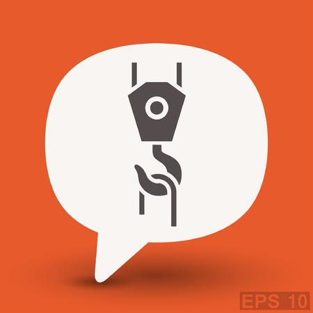 hook up: Pictograph of crane hook. Vector concept illustration for design. Illustration