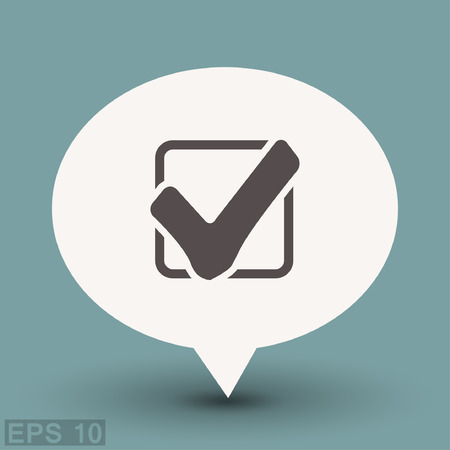 Pictograph of check mark. Vector concept illustration for design.