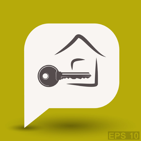 metal doors: Pictograph of key. Vector concept illustration for design.