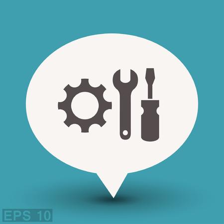 mechanism of progress: Pictograph of gear. Vector concept illustration for design.