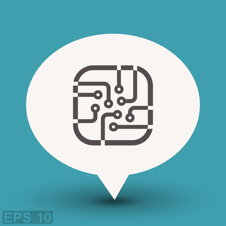 Pictograph of circuit board. Vector concept illustration for design.