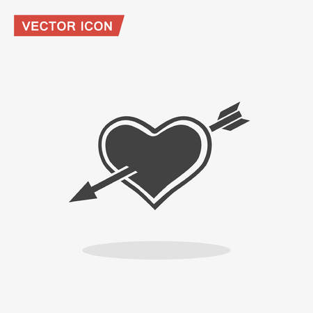 Pictograph of heart with arrow. Vector concept illustration for design. Eps 10 Illustration