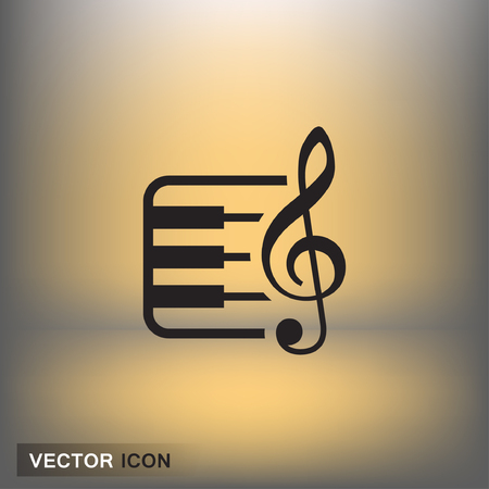 Pictograph of music key and keyboard. Vector concept illustration for design. Eps 10