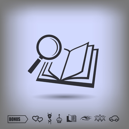 Pictograph of book and magnifier glass Illustration