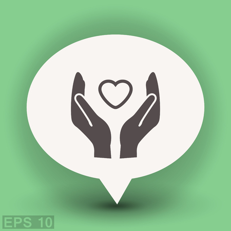 helpful: Pictograph of heart in hand