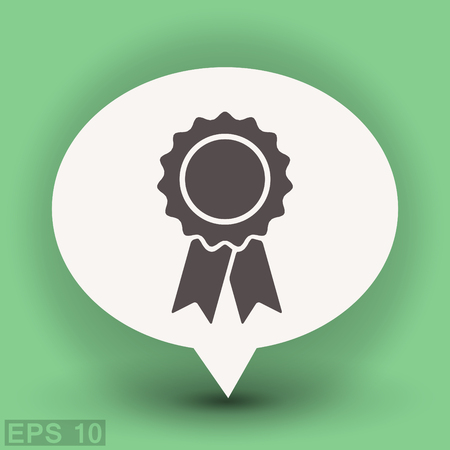 badge with ribbon: Pictograph of award