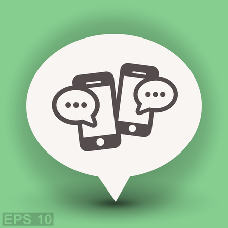 chat: Pictograph of message or chat on smartphone