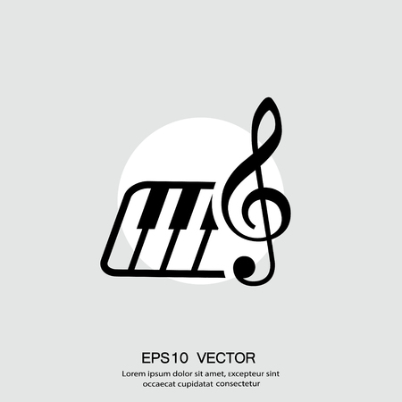 Pictograph of music key and keyboard. Vector concept illustration for design. Eps 10 向量圖像