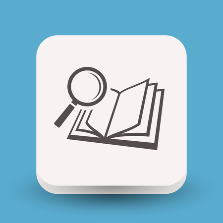 Pictograph of book and magnifier glass Stock Illustratie