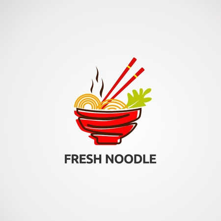 fresh noodle logo vector, icon, element, and template