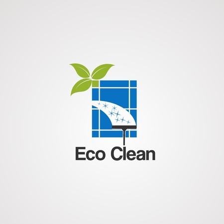 eco clean logo vector, icon, element,and template for business