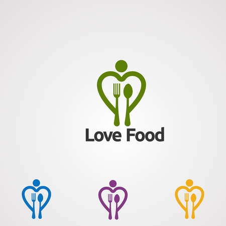love food logo vector, icon, element, and template for company Ilustrace
