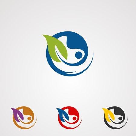 natural herbal logo vector, icon, element, and template for business  イラスト・ベクター素材