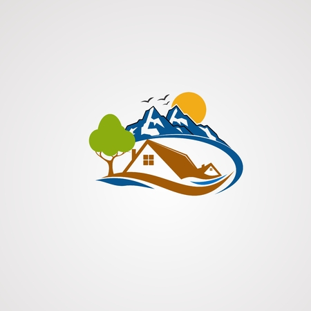 mountain house logo vector, icon, element, and template for company
