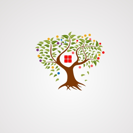 tree house logo vector with modern leafs logo vector, icon, element, and template for business Ilustracja