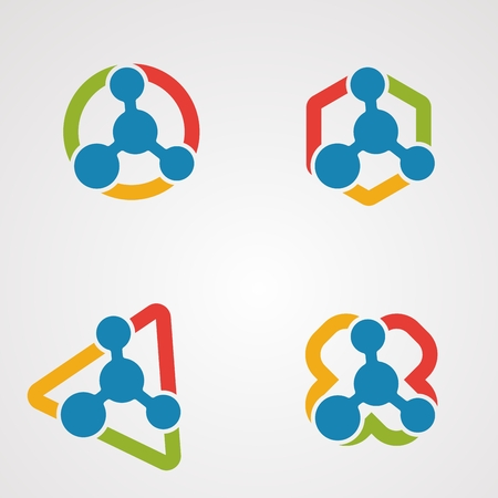 set molecule logo vector concept, icon, element, and template for company 일러스트