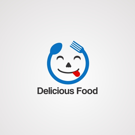 delicious face food concept logo vector, icon, element, and template for company