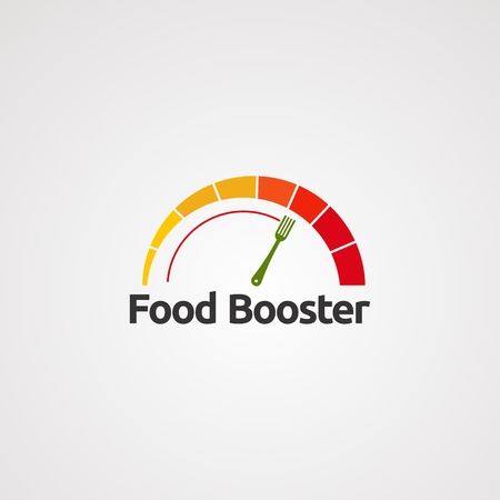 food booster with speedometer concept logo vector, icon, element, and template for company
