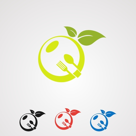 fruit food set with organic leaf concept logo vector, icon, element, and template for company