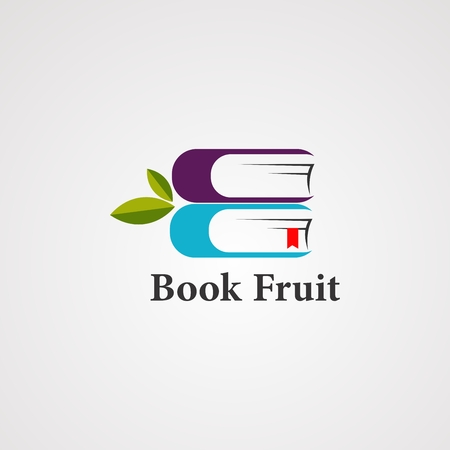 book fruit with organic leaf logo vector, icon, element, and template for company