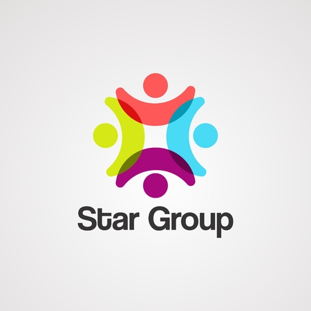 vector, icono, elemento y plantilla de logotipo de grupo de estrellas para empresa