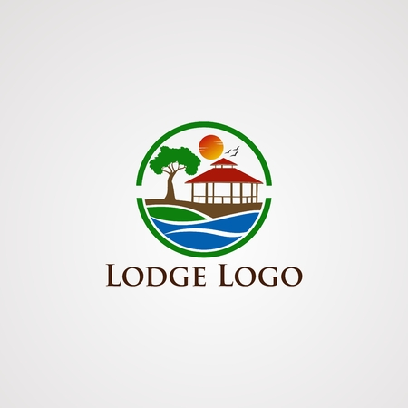 lodge logo vector with circle wave beautiful sun flying bird, template, element, and icon