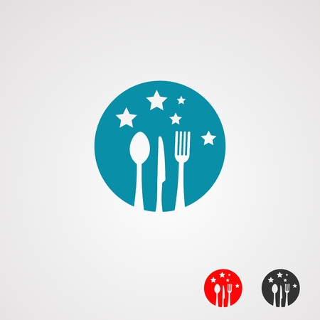 star food logo with knife, spoon, and fork on circle stars blue color, element,icon, and template for company