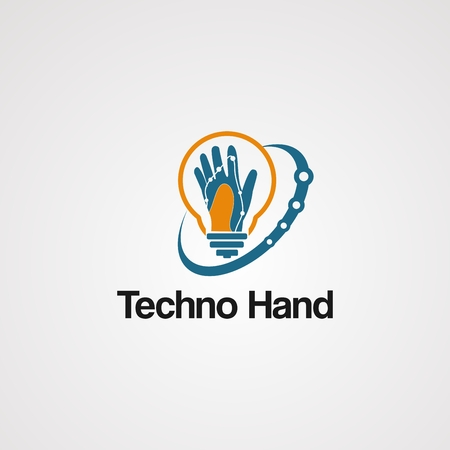 techno hand logo vector with swoosh and bulb concept, element, icon, and template for company Illustration