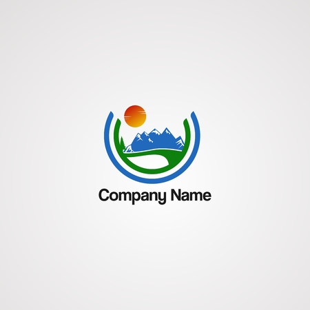 street mountain logo vector with sun and circle concept, element, template, and icon, for company Illustration
